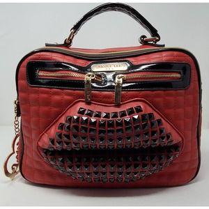NICOLE LEE Studded Lips Faux Leather Handbag